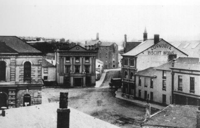 Foundry Square in Hayle with The White Hart & Cornubia Biscuits - Image: R.Williams, HCA